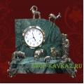 Часы: Пастух и стадо. Натуральный камень и бронза